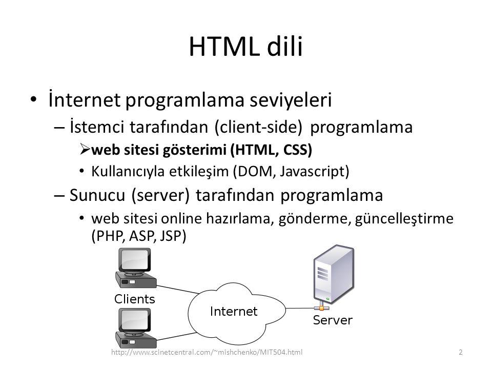 HTML dili İnternet programlama seviyeleri – İstemci tarafından (client-side) programlama  web sitesi gösterimi (HTML, CSS) Kullanıcıyla etkileşim (DO