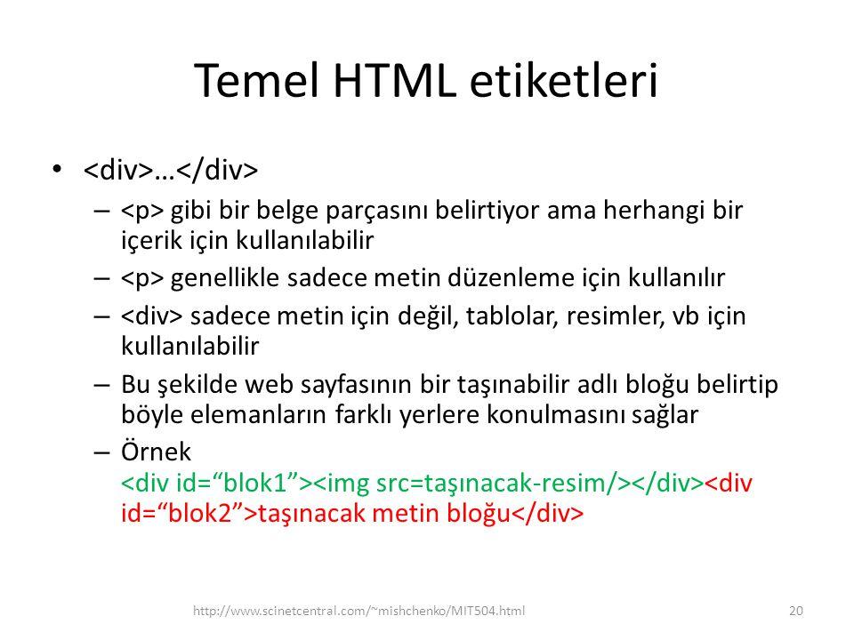 Temel HTML etiketleri … – gibi bir belge parçasını belirtiyor ama herhangi bir içerik için kullanılabilir – genellikle sadece metin düzenleme için kul