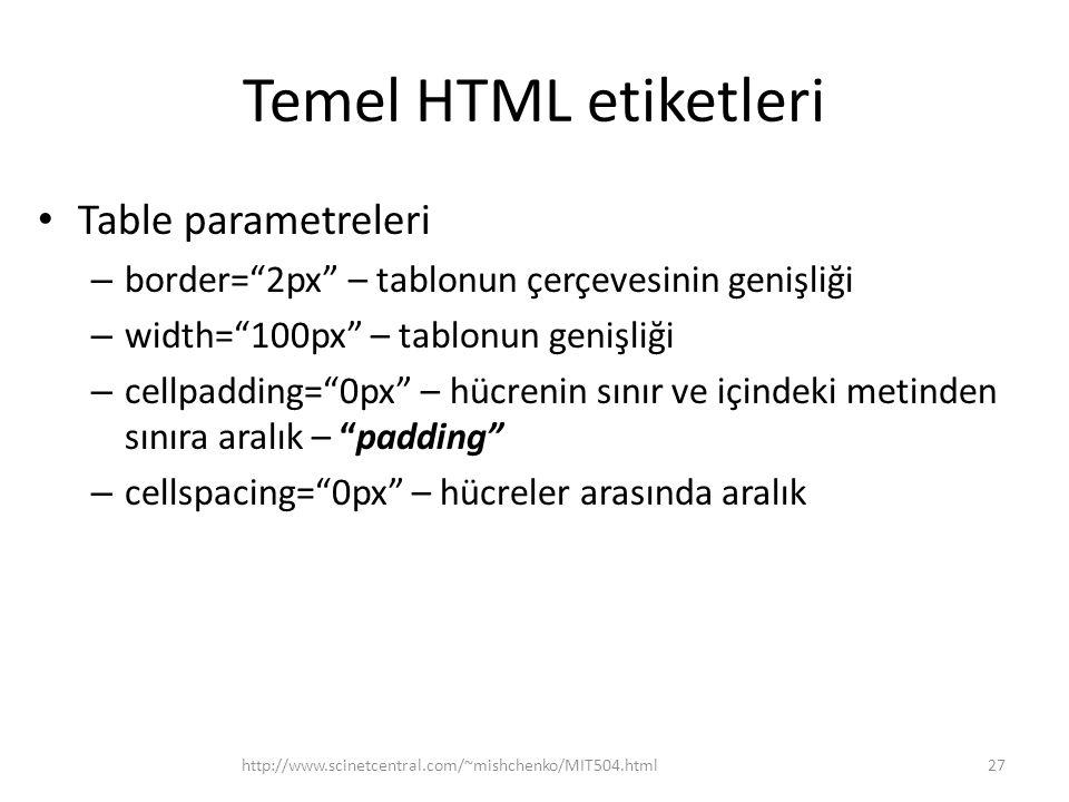 """Temel HTML etiketleri Table parametreleri – border=""""2px"""" – tablonun çerçevesinin genişliği – width=""""100px"""" – tablonun genişliği – cellpadding=""""0px"""" –"""