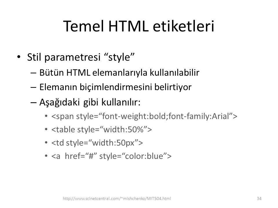 """Temel HTML etiketleri Stil parametresi """"style"""" – Bütün HTML elemanlarıyla kullanılabilir – Elemanın biçimlendirmesini belirtiyor – Aşağıdaki gibi kull"""