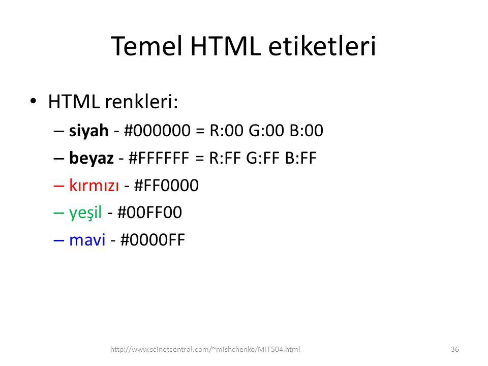 Temel HTML etiketleri HTML renkleri: – siyah - #000000 = R:00 G:00 B:00 – beyaz - #FFFFFF = R:FF G:FF B:FF – kırmızı - #FF0000 – yeşil - #00FF00 – mav