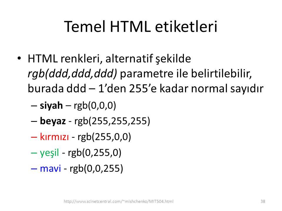 Temel HTML etiketleri HTML renkleri, alternatif şekilde rgb(ddd,ddd,ddd) parametre ile belirtilebilir, burada ddd – 1'den 255'e kadar normal sayıdır –