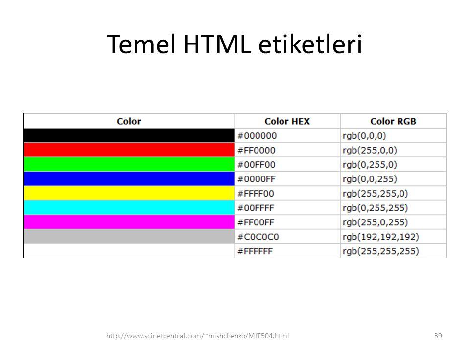 Temel HTML etiketleri http://www.scinetcentral.com/~mishchenko/MIT504.html39