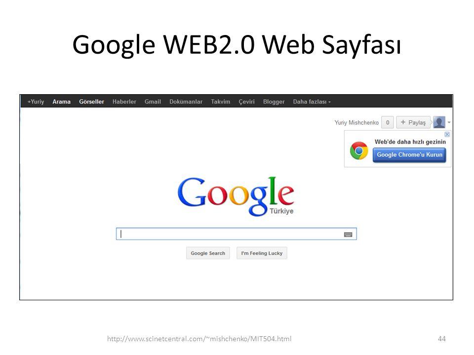 Google WEB2.0 Web Sayfası http://www.scinetcentral.com/~mishchenko/MIT504.html44