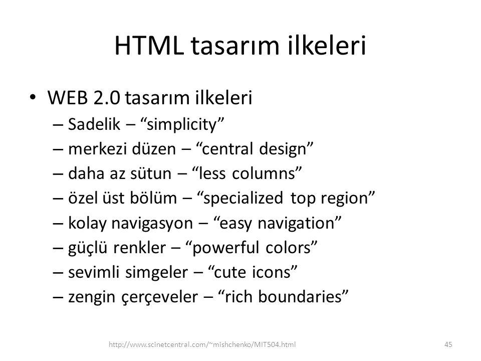"""HTML tasarım ilkeleri WEB 2.0 tasarım ilkeleri – Sadelik – """"simplicity"""" – merkezi düzen – """"central design"""" – daha az sütun – """"less columns"""" – özel üst"""