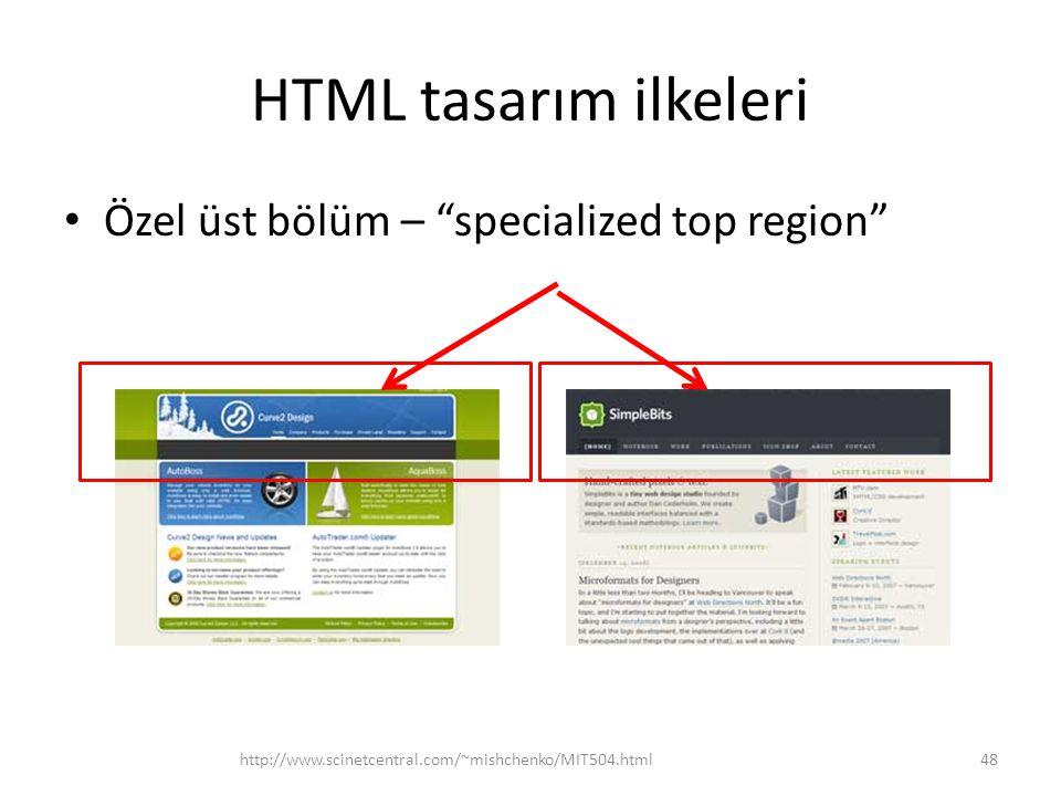 "HTML tasarım ilkeleri Özel üst bölüm – ""specialized top region"" http://www.scinetcentral.com/~mishchenko/MIT504.html48"