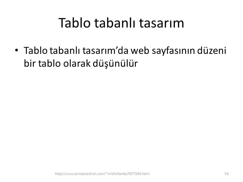 Tablo tabanlı tasarım Tablo tabanlı tasarım'da web sayfasının düzeni bir tablo olarak düşünülür http://www.scinetcentral.com/~mishchenko/MIT504.html54