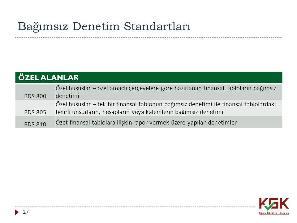 Bağımsız Denetim Standartları ÖZEL ALANLAR BDS 800 Özel hususlar – özel amaçlı çerçevelere göre hazırlanan finansal tabloların bağımsız denetimi BDS 8