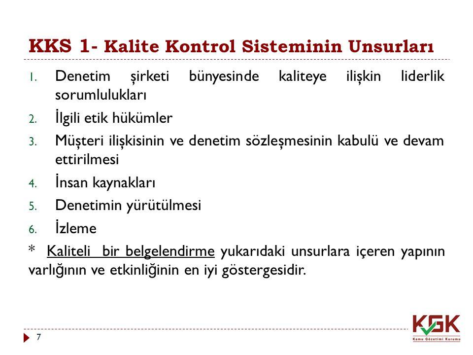 KKS 1- Kalite Kontrol Sisteminin Unsurları 1. Denetim şirketi bünyesinde kaliteye ilişkin liderlik sorumlulukları 2. İ lgili etik hükümler 3. Müşteri