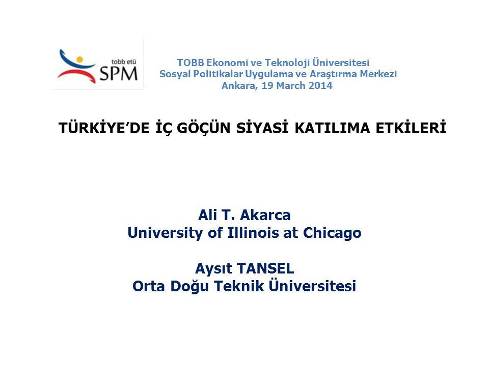 TOBB Ekonomi ve Teknoloji Üniversitesi Sosyal Politikalar Uygulama ve Araştırma Merkezi Ankara, 19 March 2014 TÜRKİYE'DE İÇ GÖÇÜN SİYASİ KATILIMA ETKİ