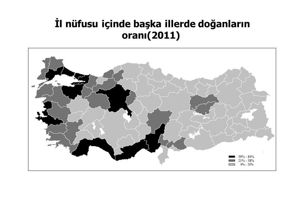 İl doğumlular arasında başka illerde yaşayanların oranı (2011)
