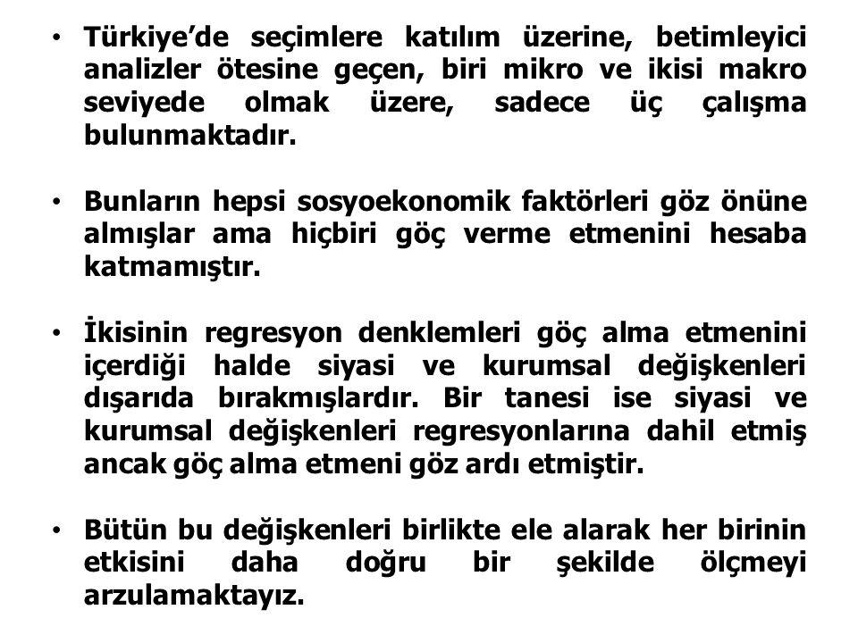 Türkiye'de seçimlere katılım üzerine, betimleyici analizler ötesine geçen, biri mikro ve ikisi makro seviyede olmak üzere, sadece üç çalışma bulunmakt