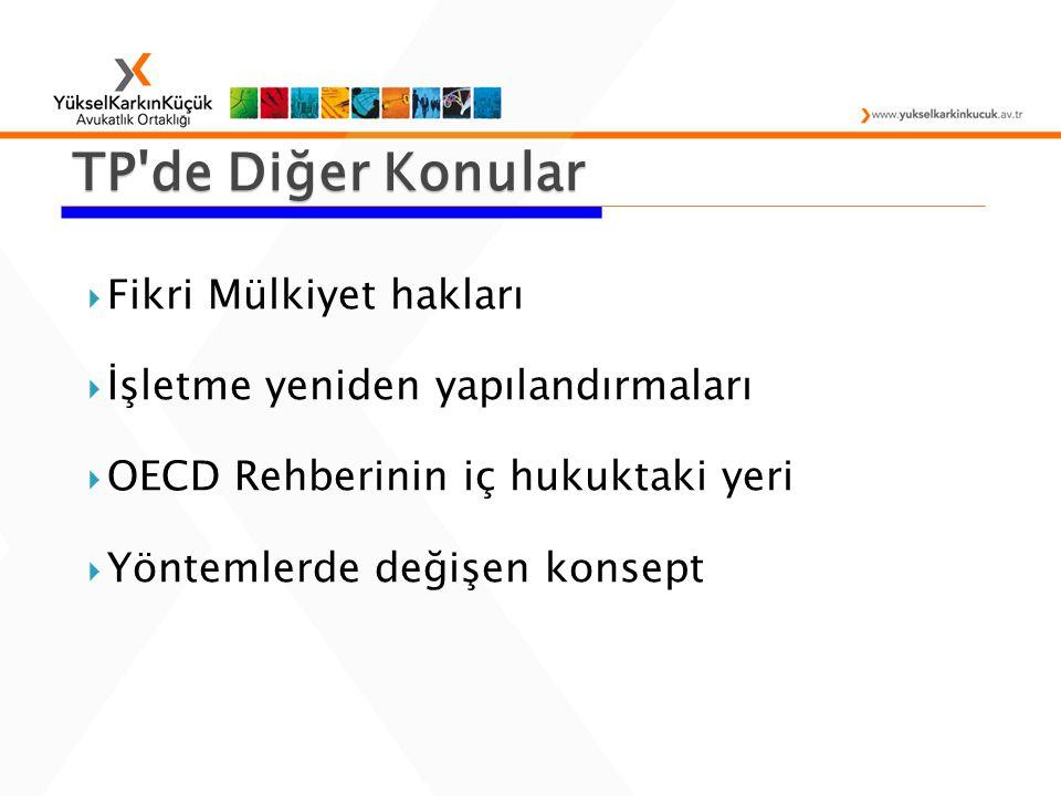  Fikri Mülkiyet hakları  İşletme yeniden yapılandırmaları  OECD Rehberinin iç hukuktaki yeri  Yöntemlerde değişen konsept TP de Diğer Konular
