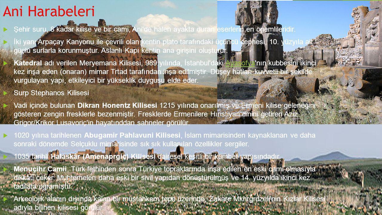 Ani Harabeleri  Şehir suru, 8 kadar kilise ve bir cami, Ani'de halen ayakta duran eserlerin en önemlileridir.  İki yanı Arpaçay Kanyonu ile çevrili