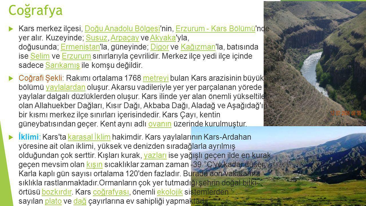 Coğrafya  Kars merkez ilçesi, Doğu Anadolu Bölgesi'nin, Erzurum - Kars Bölümü'nde yer alır. Kuzeyinde; Susuz, Arpaçay ve Akyaka'yla, doğusunda; Ermen
