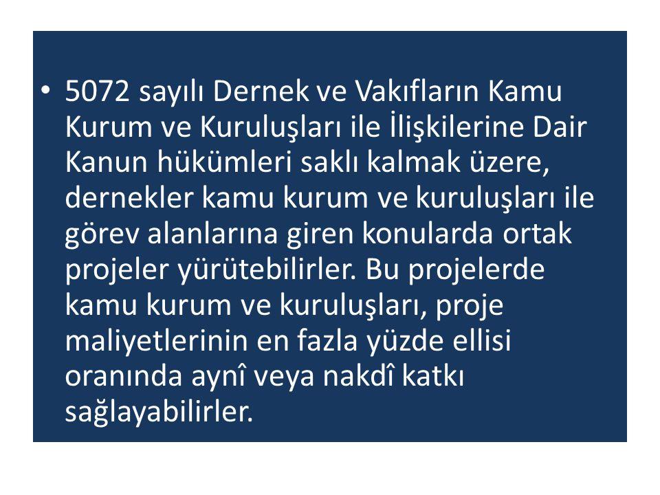 5072 sayılı Dernek ve Vakıfların Kamu Kurum ve Kuruluşları ile İlişkilerine Dair Kanun hükümleri saklı kalmak üzere, dernekler kamu kurum ve kuruluşla