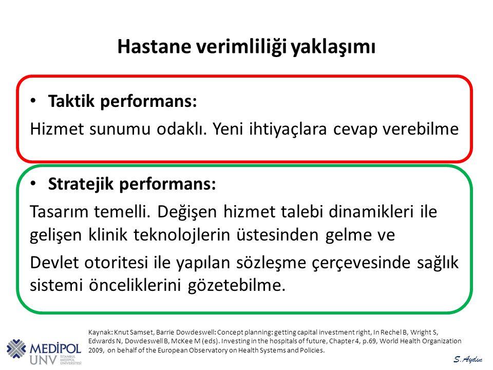 Hastane verimliliği yaklaşımı Taktik performans: Hizmet sunumu odaklı.