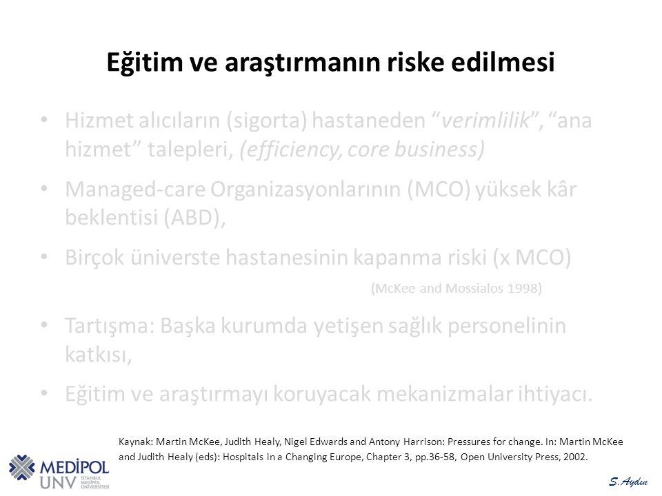 Eğitim ve araştırmanın riske edilmesi Hizmet alıcıların (sigorta) hastaneden verimlilik , ana hizmet talepleri, (efficiency, core business) Managed-care Organizasyonlarının (MCO) yüksek kâr beklentisi (ABD), Birçok üniverste hastanesinin kapanma riski (x MCO) (McKee and Mossialos 1998) Tartışma: Başka kurumda yetişen sağlık personelinin katkısı, Eğitim ve araştırmayı koruyacak mekanizmalar ihtiyacı.