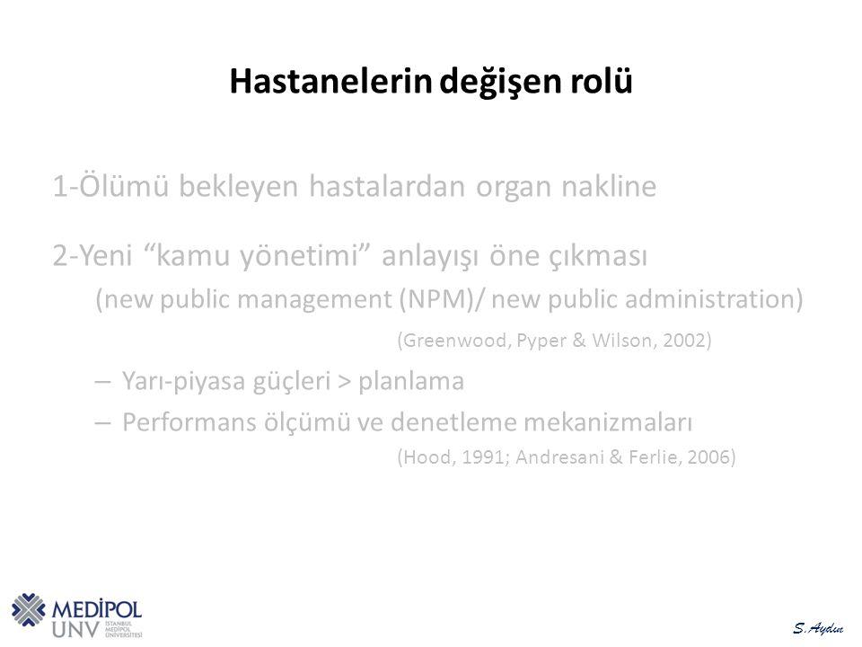 Hastanelerin değişen rolü 1-Ölümü bekleyen hastalardan organ nakline 2-Yeni kamu yönetimi anlayışı öne çıkması (new public management (NPM)/ new public administration) (Greenwood, Pyper & Wilson, 2002) –Y–Yarı-piyasa güçleri > planlama –P–Performans ölçümü ve denetleme mekanizmaları (Hood, 1991; Andresani & Ferlie, 2006) S.Aydın