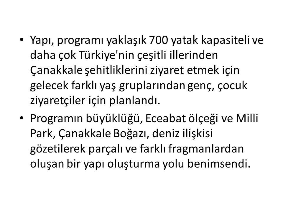 Yapı, programı yaklaşık 700 yatak kapasiteli ve daha çok Türkiye'nin çeşitli illerinden Çanakkale şehitliklerini ziyaret etmek için gelecek farklı yaş