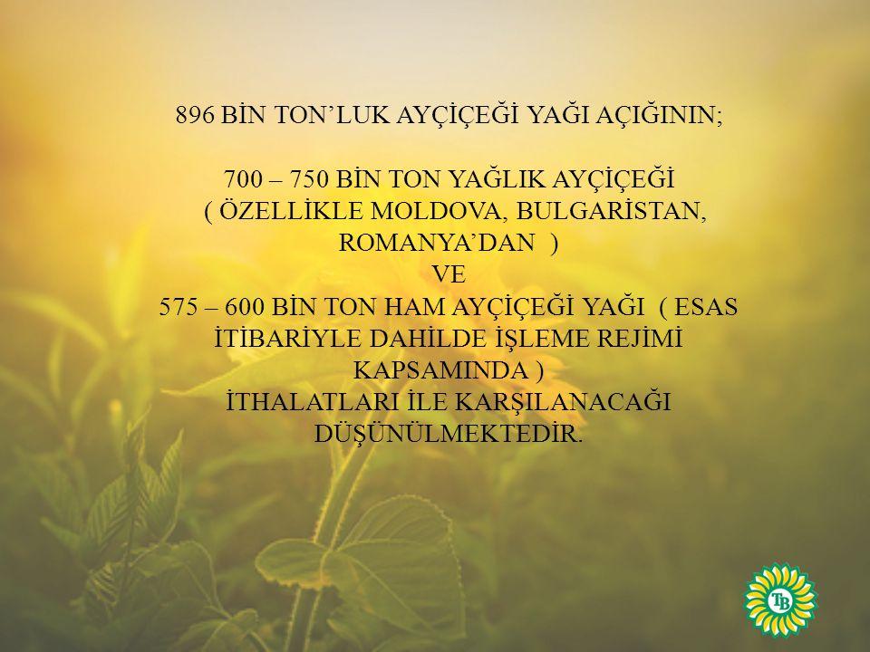 896 BİN TON'LUK AYÇİÇEĞİ YAĞI AÇIĞININ; 700 – 750 BİN TON YAĞLIK AYÇİÇEĞİ ( ÖZELLİKLE MOLDOVA, BULGARİSTAN, ROMANYA'DAN ) VE 575 – 600 BİN TON HAM AYÇİÇEĞİ YAĞI ( ESAS İTİBARİYLE DAHİLDE İŞLEME REJİMİ KAPSAMINDA ) İTHALATLARI İLE KARŞILANACAĞI DÜŞÜNÜLMEKTEDİR.