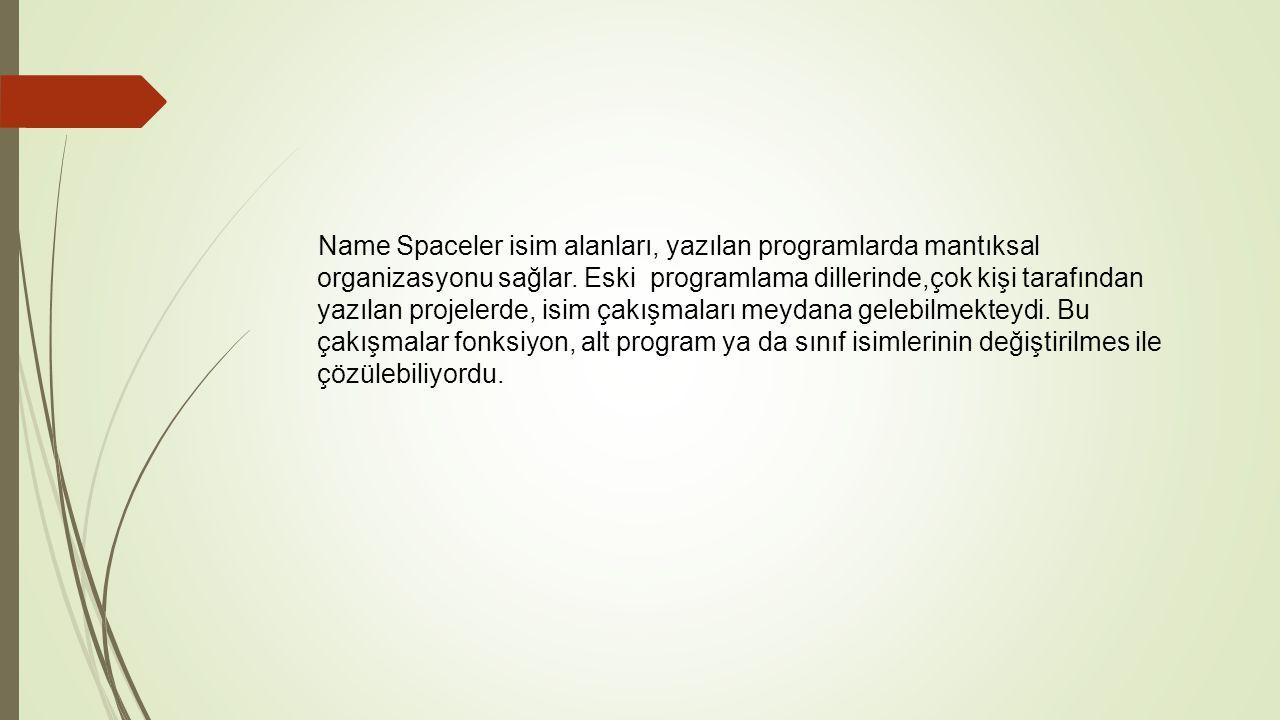 Name Spaceler isim alanları, yazılan programlarda mantıksal organizasyonu sağlar.