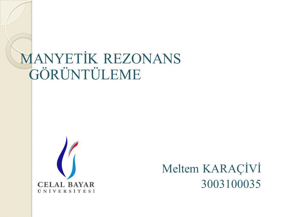 MANYETİK REZONANS GÖRÜNTÜLEME Meltem KARAÇİVİ 3003100035