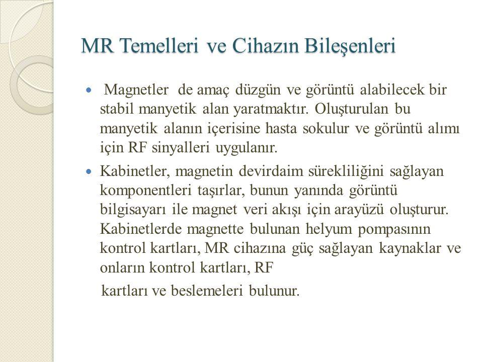 MR Temelleri ve Cihazın Bileşenleri Magnetler de amaç düzgün ve görüntü alabilecek bir stabil manyetik alan yaratmaktır. Oluşturulan bu manyetik alanı