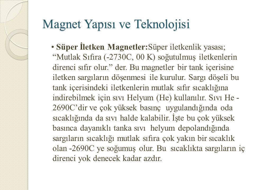 """Magnet Yapısı ve Teknolojisi Süper İletken Magnetler:Süper iletkenlik yasası; """"Mutlak Sıfıra (-2730C, 00 K) soğutulmuş iletkenlerin direnci sıfır olur"""