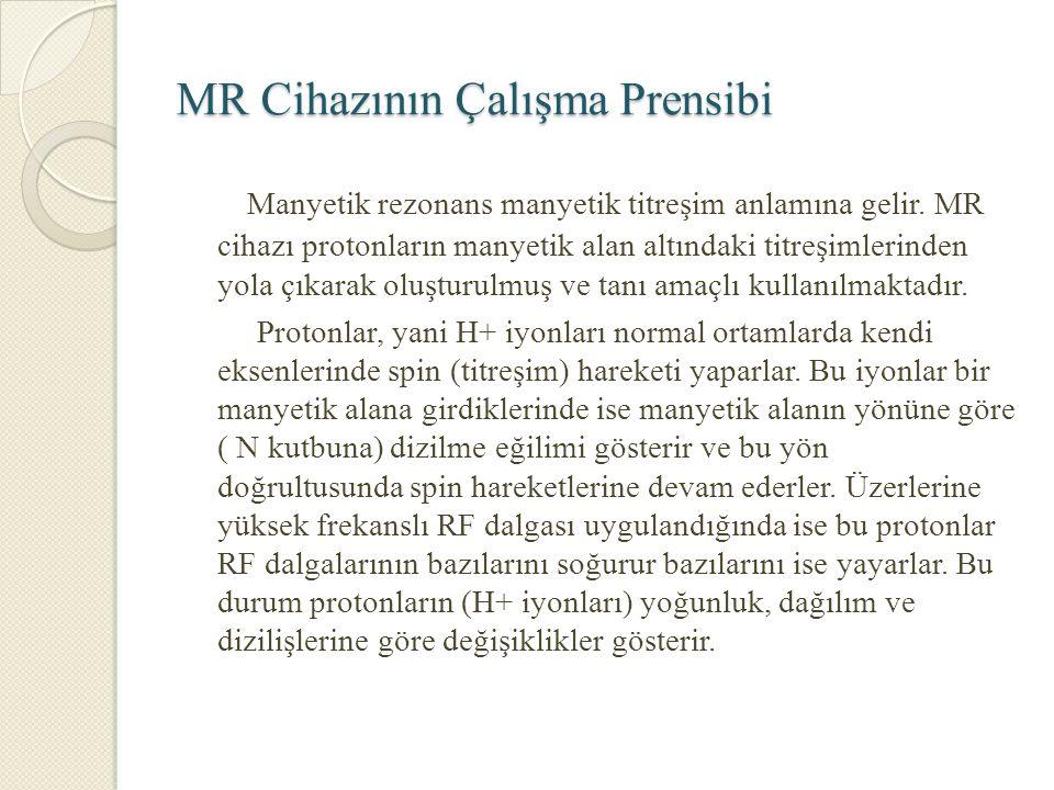 MR Cihazının Çalışma Prensibi Manyetik rezonans manyetik titreşim anlamına gelir. MR cihazı protonların manyetik alan altındaki titreşimlerinden yola