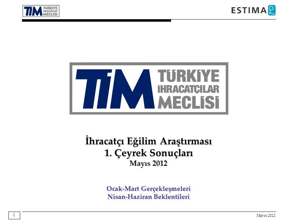 Mayıs 2012 1 İhracatçı Eğilim Araştırması 1. Çeyrek Sonuçları Mayıs 2012 Ocak-Mart Gerçekleşmeleri Nisan-Haziran Beklentileri
