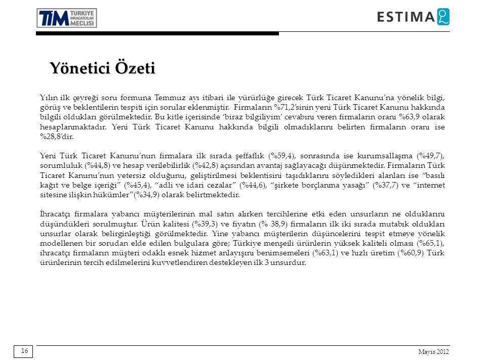 Mayıs 2012 16 Yönetici Özeti Yılın ilk çeyreği soru formuna Temmuz ayı itibari ile yürürlüğe girecek Türk Ticaret Kanunu'na yönelik bilgi, görüş ve beklentilerin tespiti için sorular eklenmiştir.