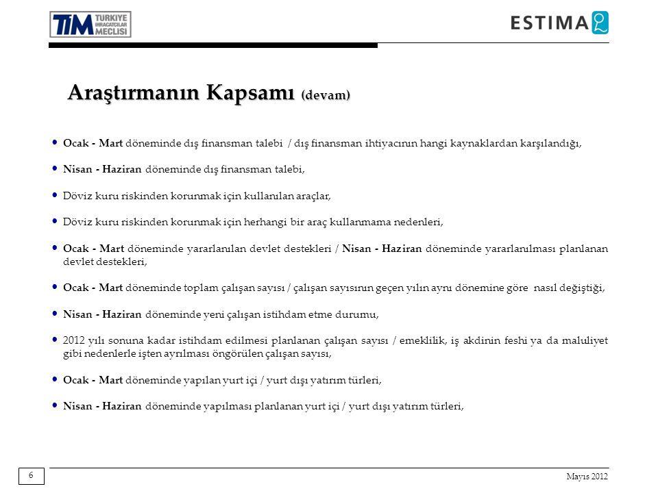 Mayıs 2012 6 Araştırmanın Kapsamı (devam) Ocak - Mart döneminde dış finansman talebi / dış finansman ihtiyacının hangi kaynaklardan karşılandığı, Nisa