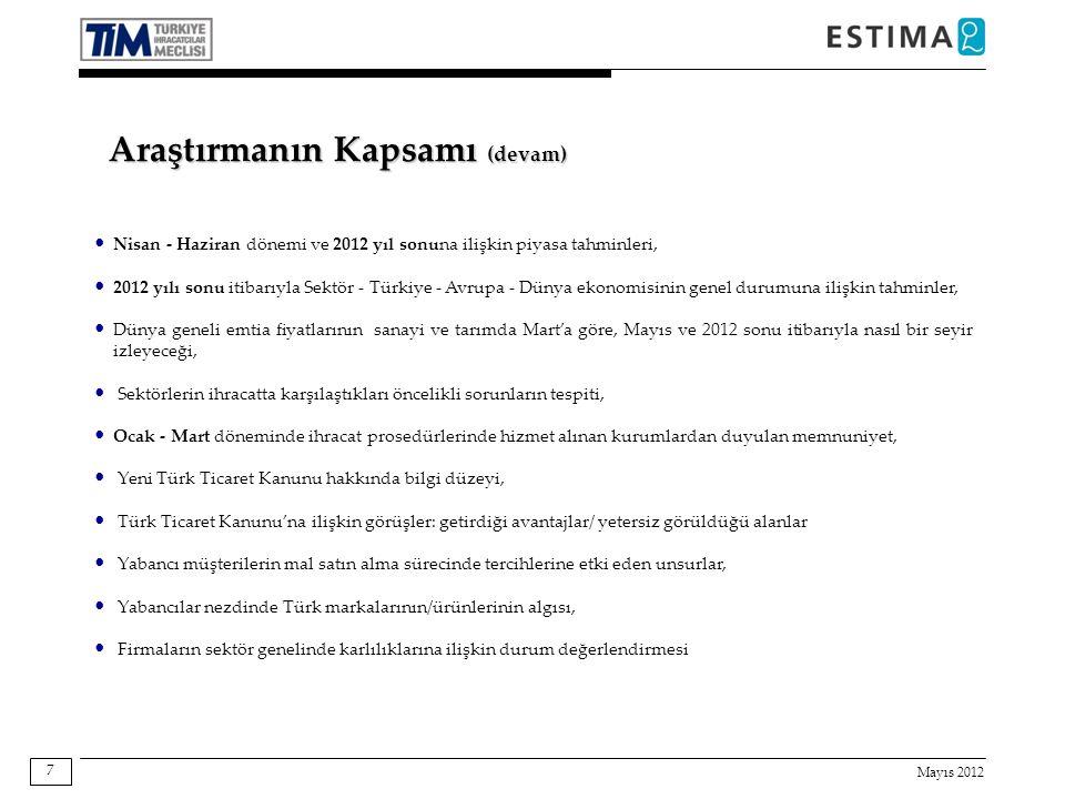 Mayıs 2012 7 Araştırmanın Kapsamı (devam) Nisan - Haziran dönemi ve 2012 yıl sonuna ilişkin piyasa tahminleri, 2012 yılı sonu itibarıyla Sektör - Türkiye - Avrupa - Dünya ekonomisinin genel durumuna ilişkin tahminler, Dünya geneli emtia fiyatlarının sanayi ve tarımda Mart'a göre, Mayıs ve 2012 sonu itibarıyla nasıl bir seyir izleyeceği, Sektörlerin ihracatta karşılaştıkları öncelikli sorunların tespiti, Ocak - Mart döneminde ihracat prosedürlerinde hizmet alınan kurumlardan duyulan memnuniyet, Yeni Türk Ticaret Kanunu hakkında bilgi düzeyi, Türk Ticaret Kanunu'na ilişkin görüşler: getirdiği avantajlar/ yetersiz görüldüğü alanlar Yabancı müşterilerin mal satın alma sürecinde tercihlerine etki eden unsurlar, Yabancılar nezdinde Türk markalarının/ürünlerinin algısı, Firmaların sektör genelinde karlılıklarına ilişkin durum değerlendirmesi