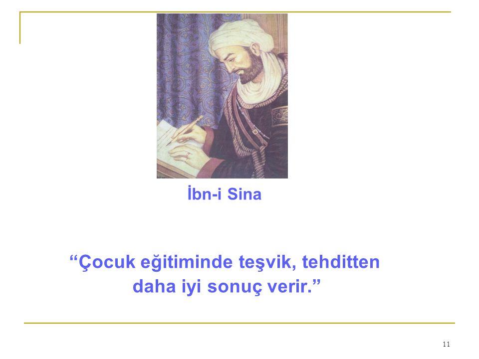 11 İbn-i Sina Çocuk eğitiminde teşvik, tehditten daha iyi sonuç verir.