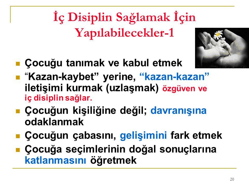 20 İç Disiplin Sağlamak İçin Yapılabilecekler-1 Çocuğu tanımak ve kabul etmek Kazan-kaybet yerine, kazan-kazan iletişimi kurmak (uzlaşmak) özgüven ve iç disiplin sağlar.