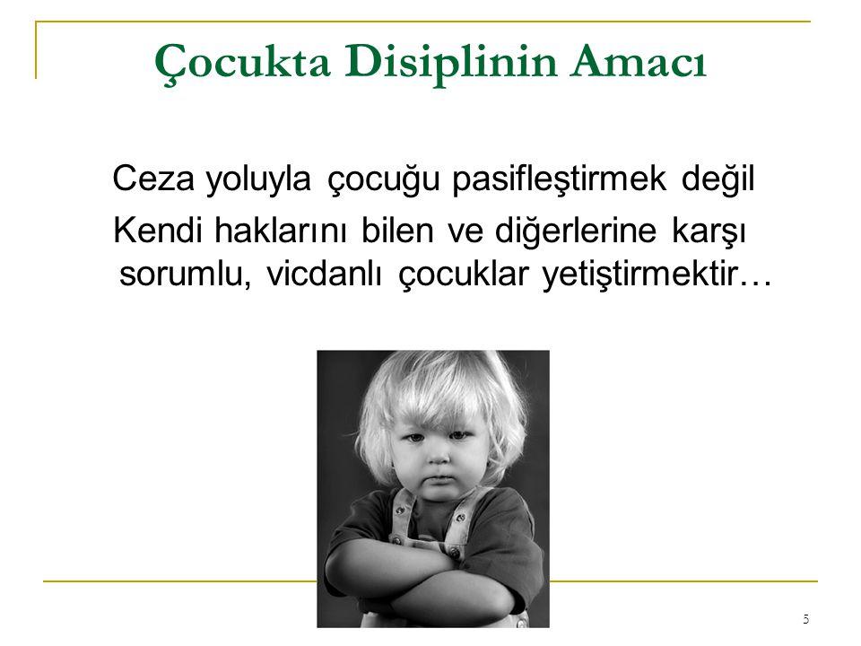 5 Çocukta Disiplinin Amacı Ceza yoluyla çocuğu pasifleştirmek değil Kendi haklarını bilen ve diğerlerine karşı sorumlu, vicdanlı çocuklar yetiştirmekt