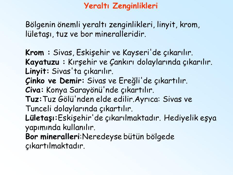 Yeraltı Zenginlikleri Bölgenin önemli yeraltı zenginlikleri, linyit, krom, lületaşı, tuz ve bor mineralleridir. Krom : Sivas, Eskişehir ve Kayseri'de