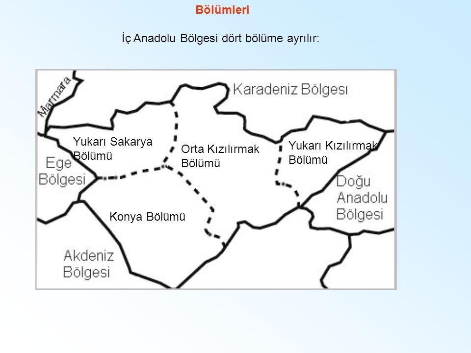 Bölümleri İç Anadolu Bölgesi dört bölüme ayrılır: Yukarı Sakarya Bölümü Orta Kızılırmak Bölümü Konya Bölümü Yukarı Kızılırmak Bölümü