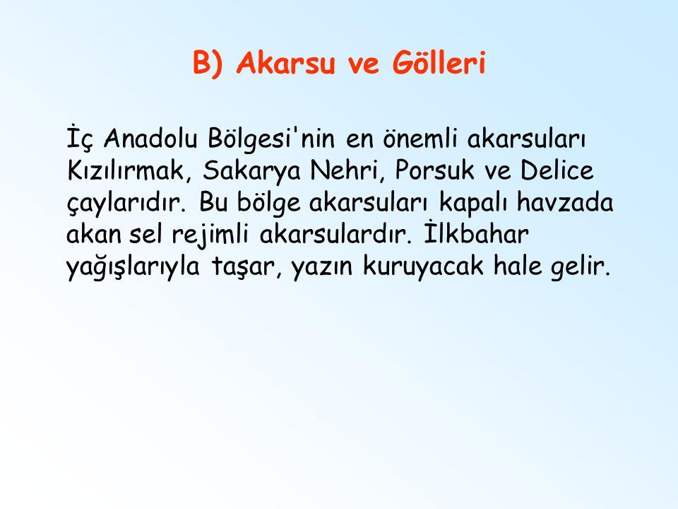 B) Akarsu ve Gölleri İç Anadolu Bölgesi'nin en önemli akarsuları Kızılırmak, Sakarya Nehri, Porsuk ve Delice çaylarıdır. Bu bölge akarsuları kapalı h