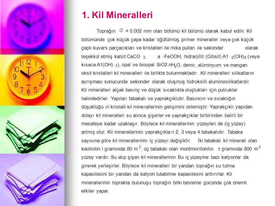 1. Kil Mineralleri Toprağın  < 0.002 mm olan bölümü kil bölümü olarak kabul edilir. Kil bölümünde çok küçük çapa kadar öğütülmüş primer mineraller ve
