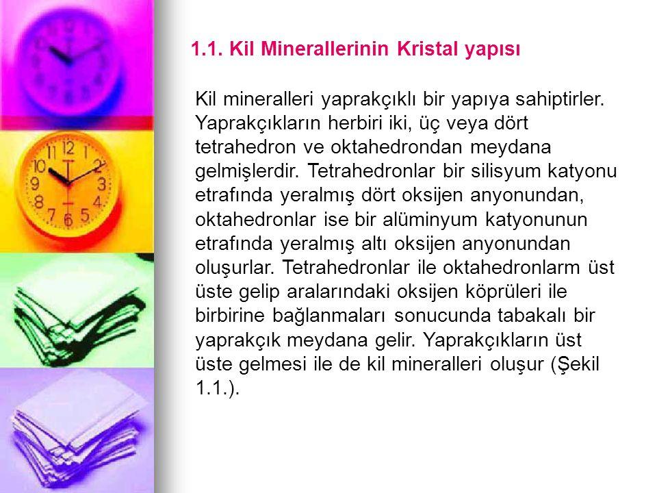 1.1. Kil Minerallerinin Kristal yapısı Kil mineralleri yaprakçıklı bir yapıya sahiptirler. Yaprakçıkların herbiri iki, üç veya dört tetrahedron ve okt