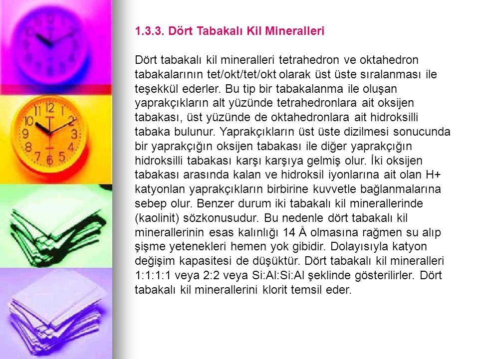 1.3.3. Dört Tabakalı Kil Mineralleri Dört tabakalı kil mineralleri tetrahedron ve oktahedron tabakalarının tet/okt/tet/okt olarak üst üste sıralanması