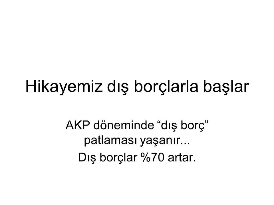 Hikayemiz dış borçlarla başlar AKP döneminde dış borç patlaması yaşanır... Dış borçlar %70 artar.