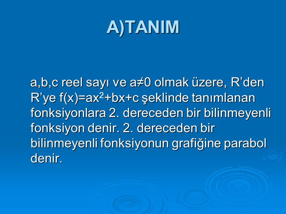 A)TANIM a,b,c reel sayı ve a≠0 olmak üzere, R'den R'ye f(x)=ax+bx+c şeklinde tanımlanan fonksiyonlara 2. dereceden bir bilinmeyenli fonksiyon denir. 2