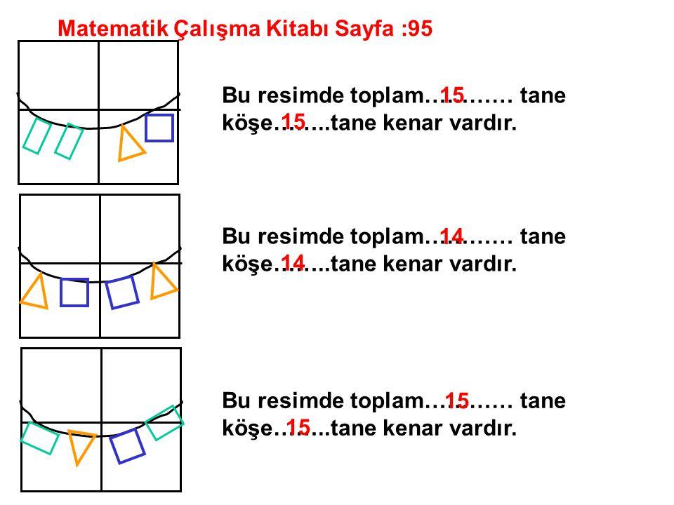 Matematik Çalışma Kitabı Sayfa :95 Bu resimde toplam………… tane köşe……..tane kenar vardır. 15 14 15