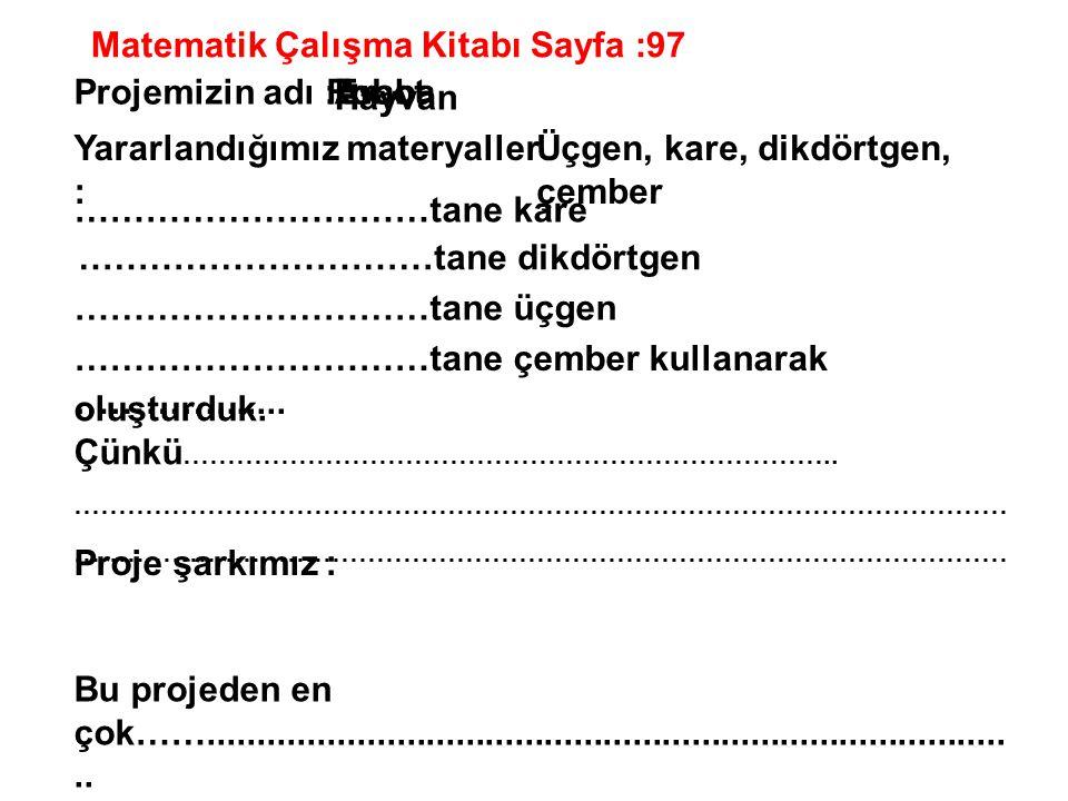 Matematik Çalışma Kitabı Sayfa :97 Projemizin adı :Ev Hayvan RobotAraba Yararlandığımız materyaller : Üçgen, kare, dikdörtgen, çember …………………………tane k