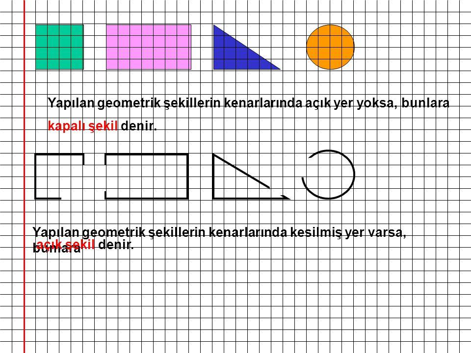 Yapılan geometrik şekillerin kenarlarında açık yer yoksa, bunlara Yapılan geometrik şekillerin kenarlarında kesilmiş yer varsa, bunlara kapalı şekil d