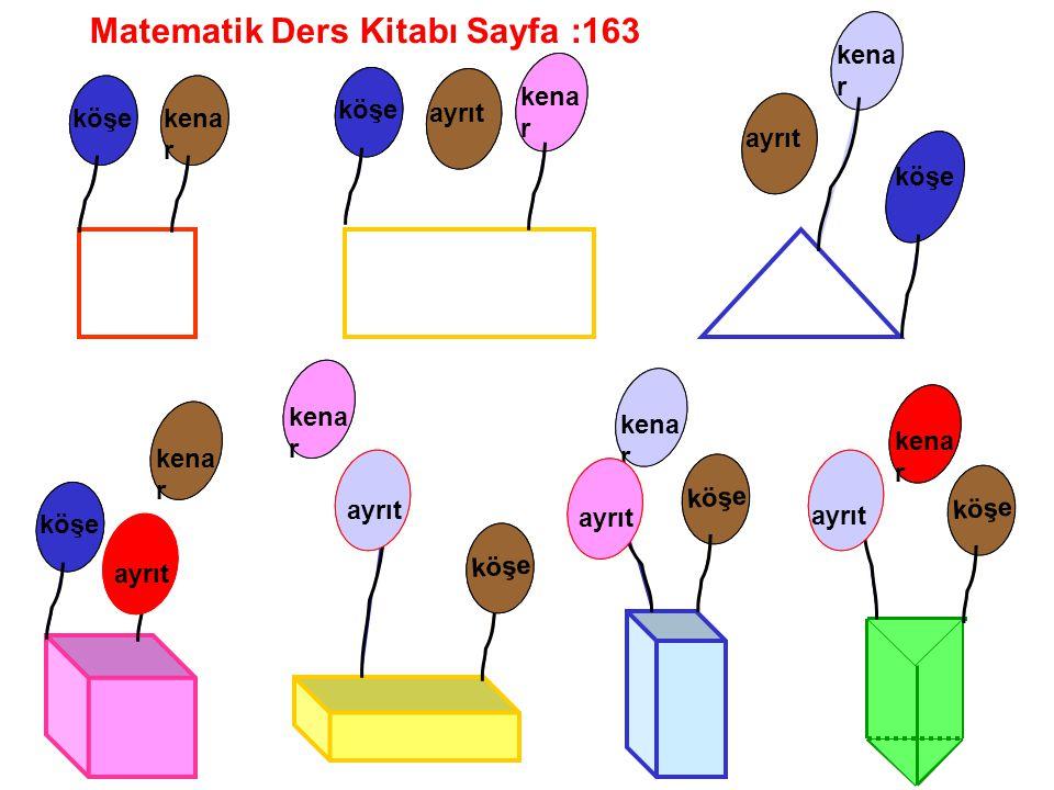 Matematik Ders Kitabı Sayfa :163 köşekena r köşe kena r ayrıt köşe kena r ayrıt köşe kena r ayrıt kena r ayrıt köşe kena r ayrıt köşe kena r ayrıt köş