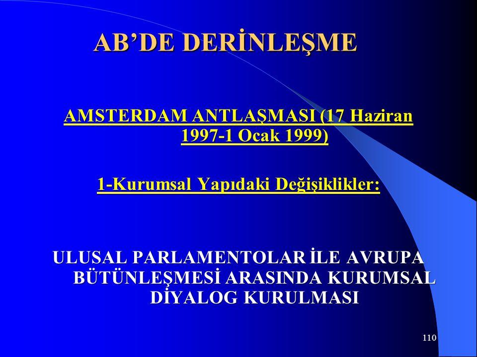 AB'DE DERİNLEŞME AMSTERDAM ANTLAŞMASI (17 Haziran 1997-1 Ocak 1999) 1-Kurumsal Yapıdaki Değişiklikler: ULUSAL PARLAMENTOLAR İLE AVRUPA BÜTÜNLEŞMESİ AR